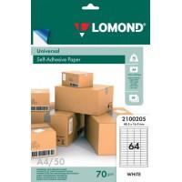 Lomond A4, 70g/m2, 50 lapų, 64 etikitės lape (48,5 x 16,9mm) lipnus popierius visiems spausdintuvams (Self-Adhesive Universal address labels / kodas 2100205)