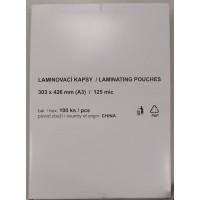 Lomond A3(303x426), 125mic, 100 lapų, blizgi laminavimo plėvelės vokas (Laminating Pouch Film Glossy / kodas: LLAFL03150)